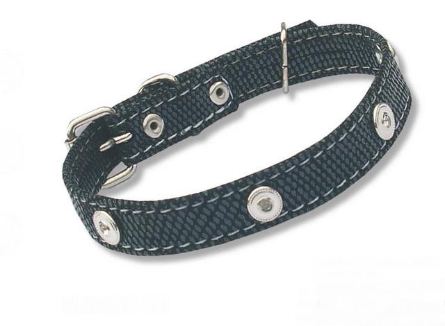 28-30 Ошейник-черный набук с украшением для мелких и средних собак